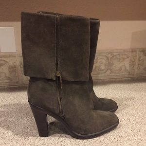 KORS Michael Kors Olive-Gray Suede Cuffed Mid-Boot